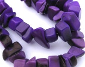 "Purple Tagua Nut Beads, Big Chip Beads, 14"" Strand, Organic Beads, Natural Beads, Vegetable Ivory Beads, EcoBeads"