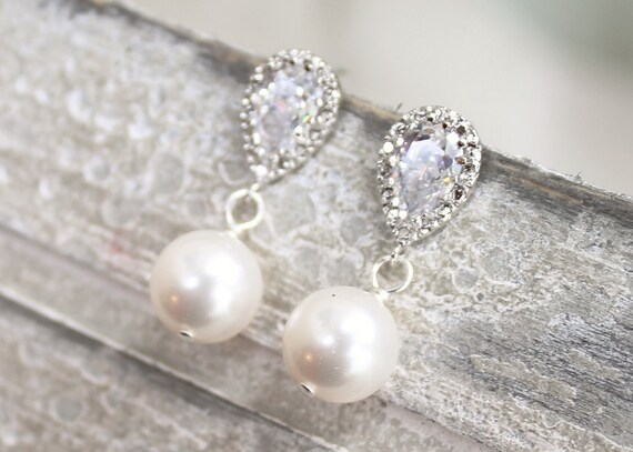 Pearl bridal earrings, simple drop, rhinestone and pearl small wedding earrings - AB14