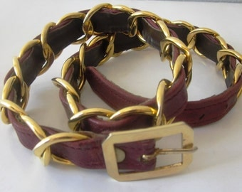 French vintage NINA RICCI gold chain and burgundy leather belt