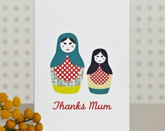 Russian Dolls - Thank You / Mothers Day Card