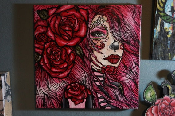 """SALE- Cute Pink Day of the Dead Girl Art Oil Painting  """" Stargazer"""" Canvas 12 by 12 Dia De los muertos Sugar Skull Red Roses Pink"""