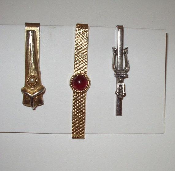 Vintage Tie Clasp Bar Men Man Lot of 3 Three Gold Tone Silver Tone 60s 70s