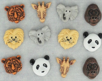 Jesse James Buttons Embellishments Animal World  Animals Novelty Themed Button Collection