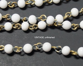 Vintage Smooth White 4mm Beaded Chain  (2) feet