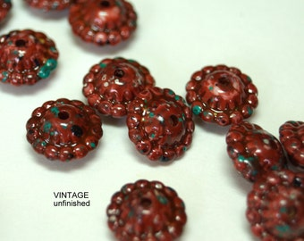 Vintage Brick Red with Blue Yellow Specks Lucite Spacer Bead 10x8mm  (12)