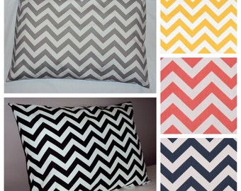 Standard Size Chevron Zig Zag Bed Pillow Sham In Gray Black Yellow Coral Brown Or Navy Blue