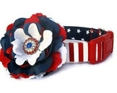 4th of July Red White Blue Dog Collar with Flower Accessory - Uncle Sam