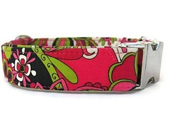 Floral Dog Collar - Raspberry Lime - with Nickel Hardware