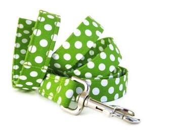 Polka Dot Dog Leash - White Dots on Lime - 6 Foot Length