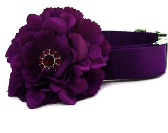 Purple Satin Wedding Dog Collar with Flower Accessory