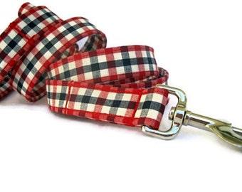 Red White Blue Dog Leash - American Gingham