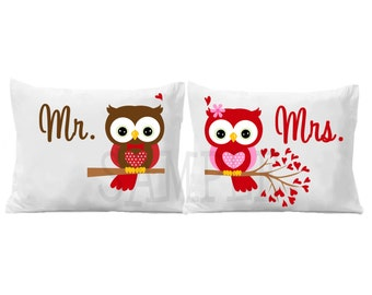 Mr. and Mrs. Personalized Owl Pillowcase Personalized Pillow Case