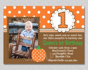 Fall Pumpkin Birthday Invitation,  Pumpkin 1st Birthday Party Invites, Printable Boys or Girls