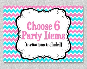 Party Package - Print your Own Choose any 6 items by The Trendy Butterfly