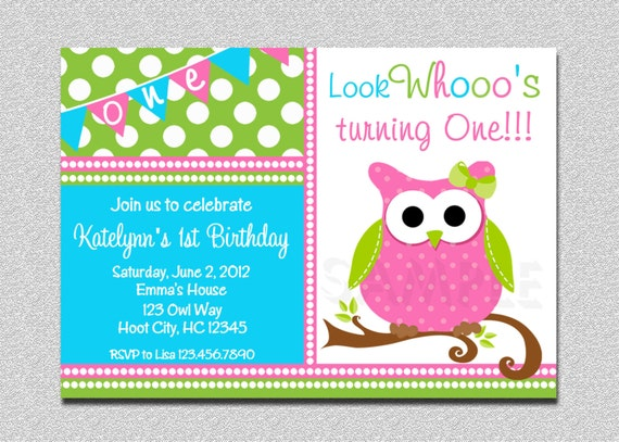 Owl Birthday Invitation , Owl Birthday Party Invitation Printable by The Trendy Butterfly