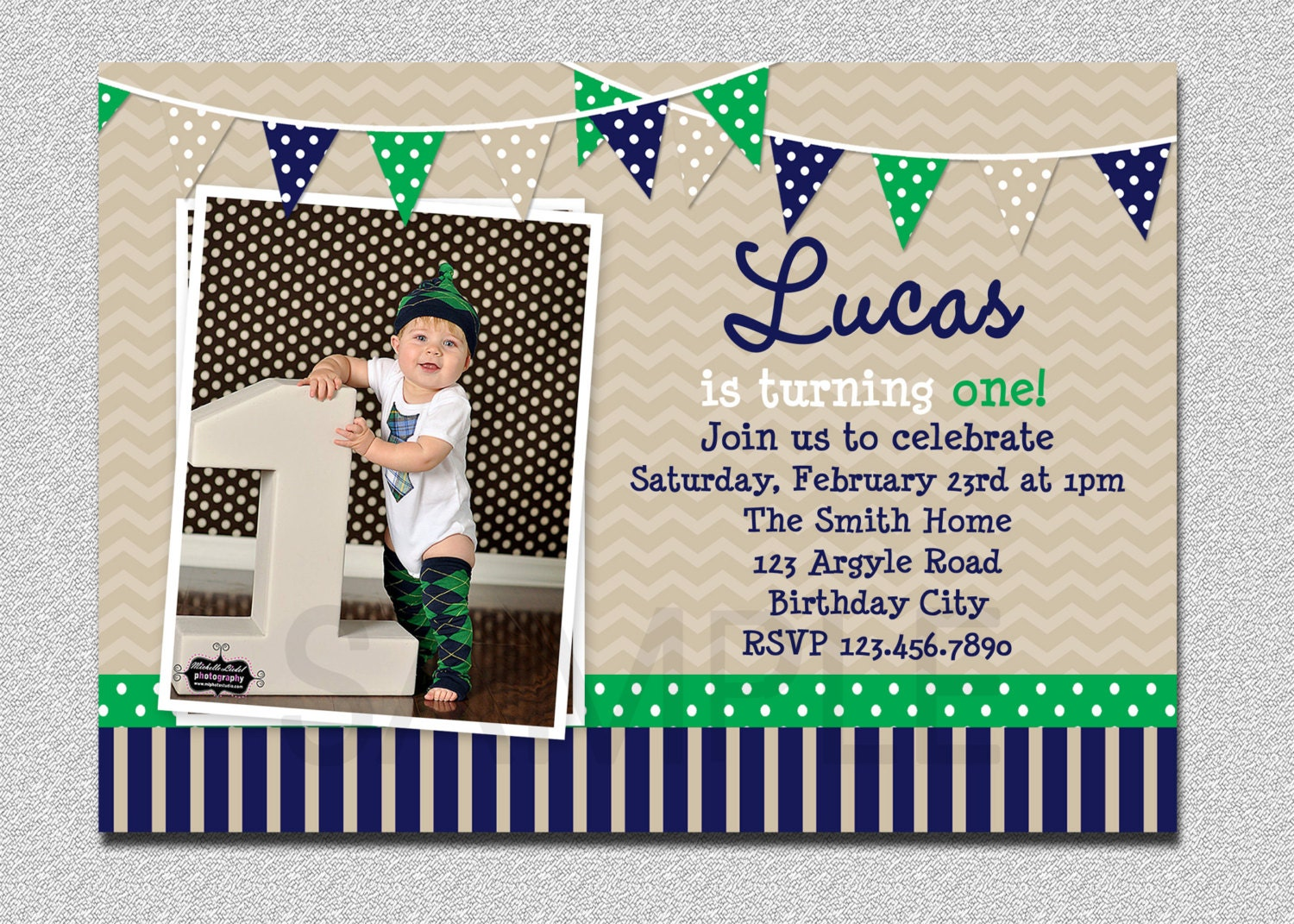 Preppy Bunting Boys Birthday Invitation Navy Green Birthday – 1st Birthday Invitation for Boys
