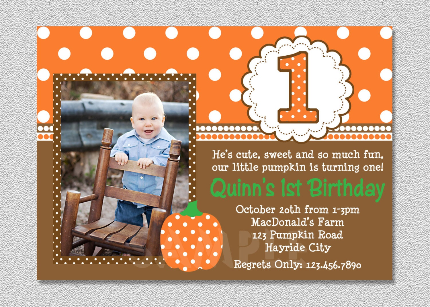fall pumpkin birthday invitation pumpkin st by thetrendybutterfly, Birthday invitations