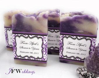 25 Vegan SOAP Favors ~ Bridal Shower ~ Weddings ~Lavender in Purple Filligree or Custom Labels ~ Handmade in 7 days ~ with Cellophane Bags