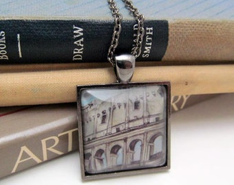 Pendant Necklace - Travel Necklace - Rome - Coliseum - By Mixed Media Artist Malinda Prudhomme