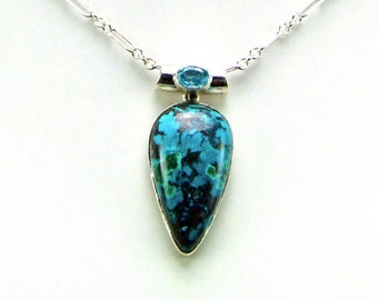 Chrysocolla & Faceted Blue Topaz Sterling Silver Pendant - N628