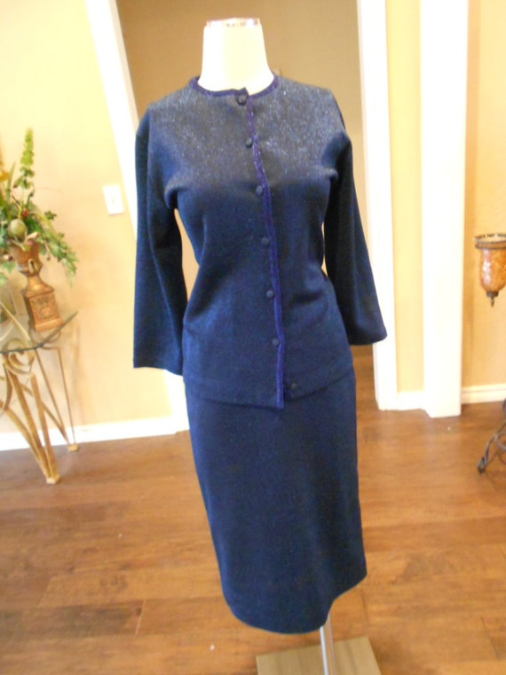 Vintage 40s 50s Hourglass Midnight Blue Metallic Pencil Suit 4 6 small