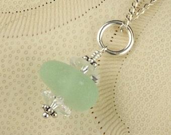 Sea Glass Jewelry Wire Wrapped Aqua Necklace