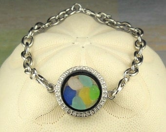 Memory Locket Sea Glass Bracelet with GENUINE Rare Sea Glass Gems