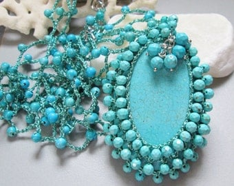 Turquoise Blue Hand Knotted Necklace, hand knitting jewelry, Bohemian beaded Jewelry