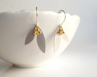 Silver Leaf Earrings - mixed metal modern double leaves on .925 sterling silver hooks with 14K gold vermeil pod balls