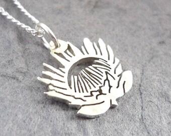 Sterling Silver Handmade Protea Flower Pendant