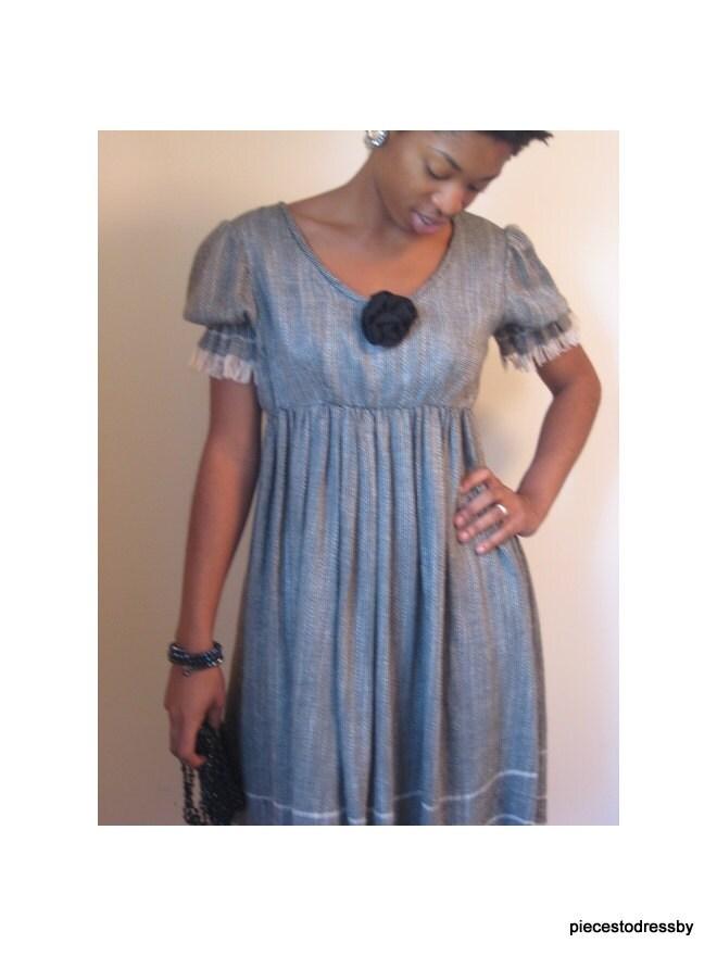 Baby Doll Dress Black And White Dress Linen Fringe Trim