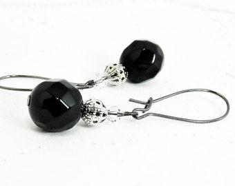 Black Onyx, Silver Toned Filigree Bead, & Swarovski Crystal Earrings