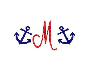Anchor // Mini Monogram Machine Embroidery Design Set, Summer Design, Beach, Embroidery font, Embroidery Monogram Font // Joyful Stitches