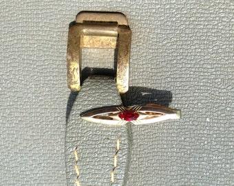 Arrow Red Stone Tie Bar Clip Clasp Goldtone by Swank