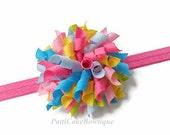 Summer Garden Korker Hair Bow Headband, Korker Bow, Toddler Hair Bow, Hot Pink Headband, Baby Hair Bow, Baby Headband, Girls Headband, 809