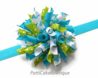 Turquoise & Lime Daisy Korker Bow, Turquoise Headband, Korker Hair Bow, Boutique Hair Bow, Baby Headband, Hair Clip, Hair Bow for Girls, 809
