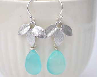 Aqua Blue and Leaves Sterling Silver Earrings Semi Precious Gemstone Dangle