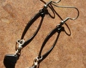RESERVED for cvhs1 Handmade dangel earrings, with black energy stone wire