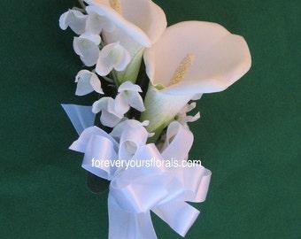White Calla Lily Mother's Corsage, White Calla Corsage, White Corsage