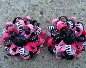 2 Disney Hair Bows Mickey Mouse Hair Bows Minnie Mouse Hair Bows Loopy Flower Hair Bows Zebra Hair Bow