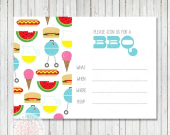 INSTANT DOWNLOAD Printable Invitation - BBQ Cookout Birthday or Graduation Fill-In Invitation - by Petite Party Studio