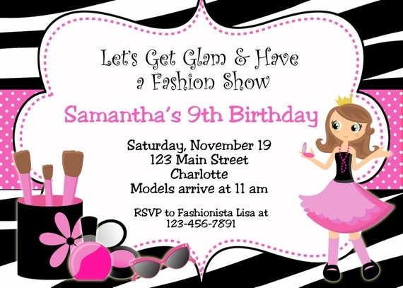 glamour party birthday invitation printable by thebutterflypress