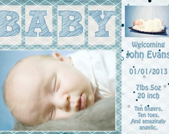 Custom Birth Announcement - Baby Boy