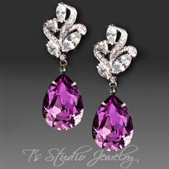 amethyst purple bridesmaid earrings swarovski by