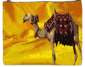 Camel pouch, Moroccan Camel bag, Camel Cosmetic Bag, XL camel cosmetic makeup bag, yellow makeup bag, bags and purses, zipper pouchg