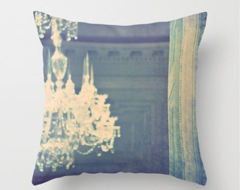 decorative throw pillow cover, mint blue pillow cover, french cottage chic, Marie Antoinette inspired decor, chandelier photo pillow case