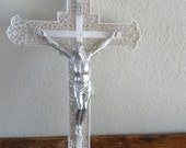 Vintage Plastic and Silver Cross  Jesus INRI Crucifix