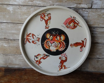 Vintage Exxon Tiger in Your Tank Tin Metal Plate Tray Platter