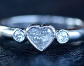 14K White Gold Engagement Ring set with Heart Shape Diamond and Two Round Brilliant Diamonds Custom-Made to Order