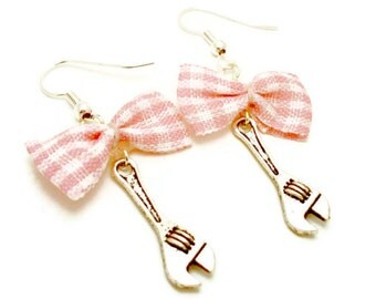 Bow and Wrench Earrings - Pink Gingham Bow - Rockabilly, Pinup, Fashion jewelry, trendy earrings